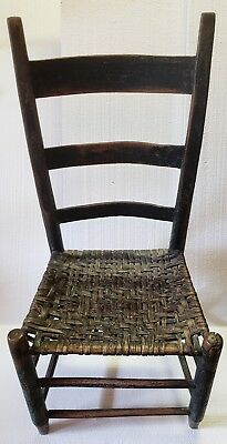 19th Century Ladder Back Chair with Rush Seat