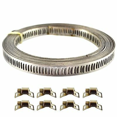 8pc Stainless Steel Hose Clip Clamps Jubilee Type Pipe ANY SIZE 3m Long TE791