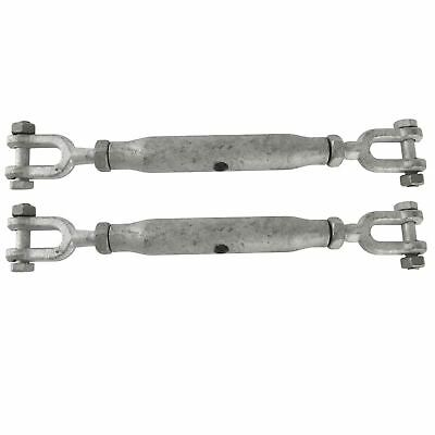 Rigging Screw 10mm Galvanised Jaw to Jaw 2 PACK Turnbuckle Straining DK67