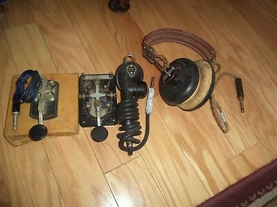VTG WWII COLLECTIBLES -Morse Code Telegragh-Key-Hand Held Microphone &  Headset