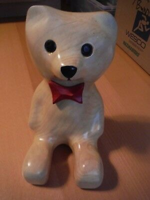 "Hand Crafted Carved and Decorated Solid Wooden Sitting Bear, 9"" Tall"