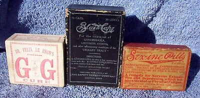 Lot of Three (3) Quack Cure Medicine Boxes, Treatments for Sexual Diseases