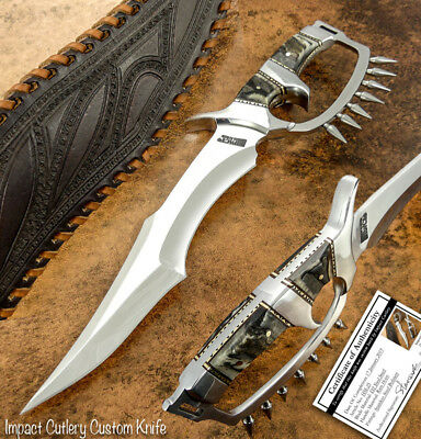 Impact Cutlery Rare Custom D2 Mirror Polished Full Tang Bowie Knife Ram Horn