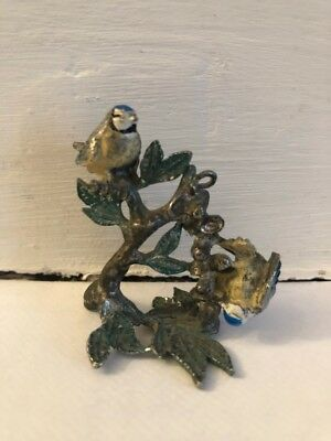 Antique Miniature Blue Tits Birds Enamel on Lead