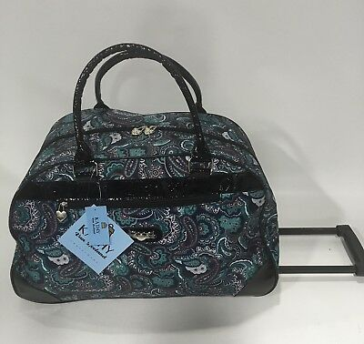 New Kathy Van Zealand Black Paisley Wheeled Duffle Luggage City Bag $120