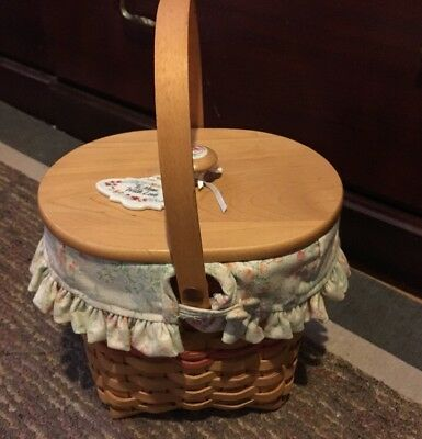 "LONGABERGER Basket Handle ""To Mom, With Love"" Porcelain Piece Fabric Insert"