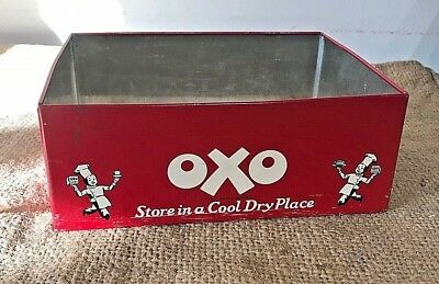 Vintage Large OXO Cube Tin - Late King George VI - 1950's Lunch Box advertising