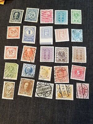 Austrian Postage Stamp Lot of 25 Vintage Stamps, Used, 121208