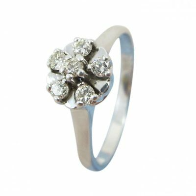 14ct 14kt White Gold 0.20ct Diamond Engagement Flower Cluster Cocktail Ring
