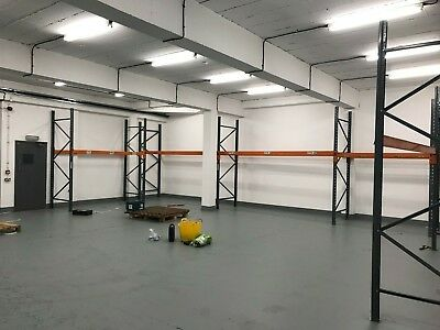 Industrial racking shelves 4 X Beams with Clips + 4 X Frames. up to 10 pallets.