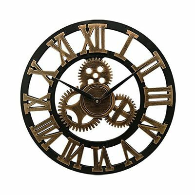 16 inch Big Size Rustic Wall Clock with Gear Decorative Vintage Clock with C2U7)