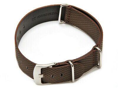 Bracelet-montre - NATO - matériau high-tech - aspect textile - marron NEUF