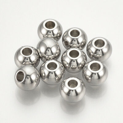 100pcs 304 Stainless Steel Spacer Beads Round Smooth Loose Bead Jewelry Findings