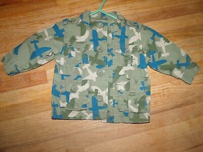 Boys Size  3-6 Months Old Navy Green Blue Airplane Camouflauge Jacket Coat