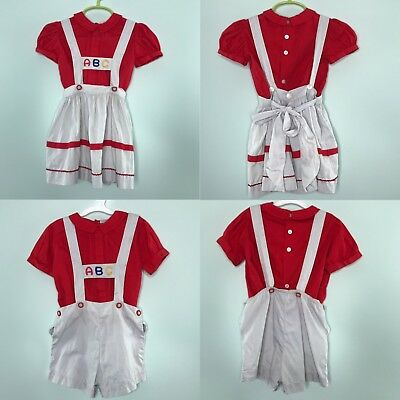 Vintage Town Twins Matching Outfits Boy Girl ABC Red Shirt Grey Bottoms