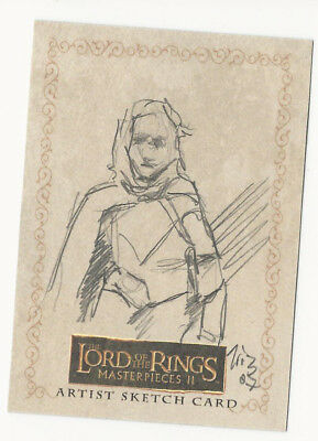 LOTR Lord of the Rings Masterpieces 2 Topps Sketch Card Tristan Henry-Wilson 1/1