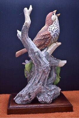 Vintage Wood Thrush Figurine Andrea By Sadek Made In Japan - Exquisite Detail!