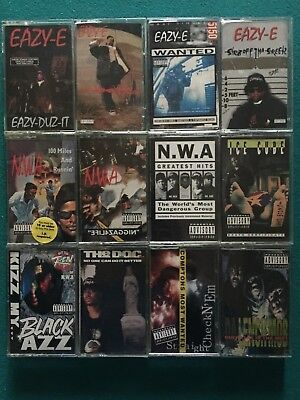 12 EAZY-E, NWA & COMPTON OLD SCHOOL GANGSTA RAP Cassette Tape Lot ALL 1st ISSUE