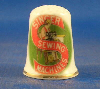 Fine Porcelain China Thimble -  Vintage Singer Sewing Sign -- Free Gift Box