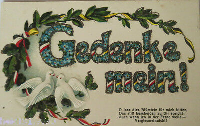 """"""" Saying, Pigeons """" 1910, Embossed Postcard, Non Shed Glitter Card (16587)"""
