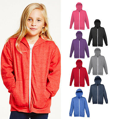 AWDis Just Hoods Kids Heather Zoodie - Boys girls plain zipped hoodie |Ages 3-13