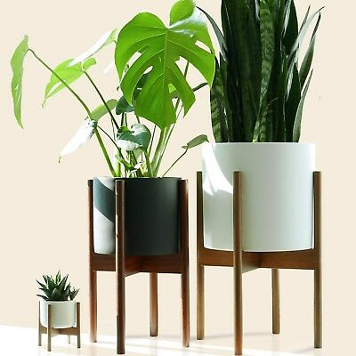 "Fox & Fern Mid-Century Modern Plant Stand - Acacia - EXCLUDING 10"" White Cera..."