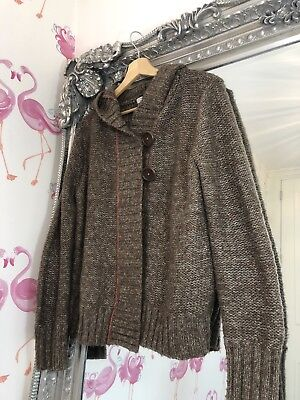 Mamas & Papas Maternity Brown Chunky Button Hooded Sleeve Knit Cardigan 12/14