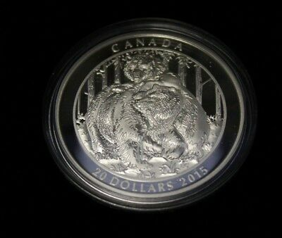 Canada 2015 $20 Fine Silver Grizzly Bear Togetherness