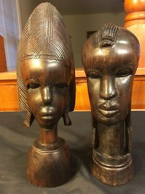 """Antique African Black Ebony Wood Hand Carved Head 10"""" Heavy Statue 