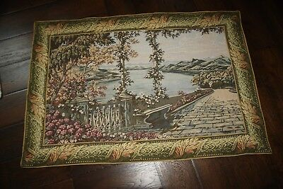 "Antique French Chateau Lg. Wall Hanging Tapestry With Border 36"" x 63"""