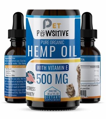 Cbd Oil for Dogs Cats Pets  (500mg) - Anxiety Relief -Hemp Calming Drops - 30 ml