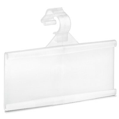 Pack of 100 – Plastic Wire Shelf Label Holder, Sign and Ticket Holder, Easy Clip