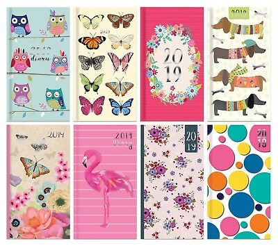 2019 Diary Slim Long/Pocket Small Week To View Hardback Purse,Pocket Gift Diary