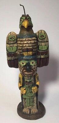 Totem Pole Candle Wood Look Birds Crow Villager Mask.