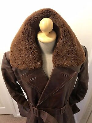 Vintage German 1940s-50s Brown Leather Civilian Overcoat Trenchcoat Fur Lined