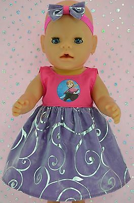 """Play n Wear Doll Clothes To Fit 17"""" Baby Born FLORAL ORGANZA DRESS~HEADBAND"""