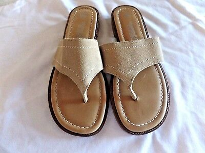 fa33329b6 Montego Bay Club Leather Collection Tan Suede Flip Flops Women s Size 6 ...