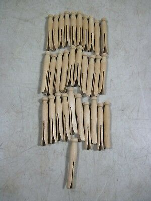 31 Vintage Wooden Small Mini Dolls Clothes Clothespins NOS