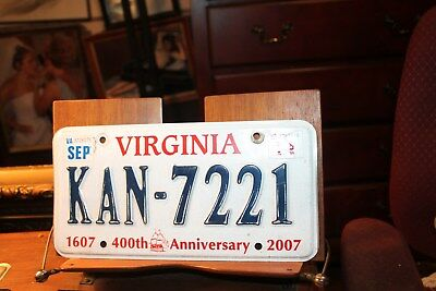 2007 Virginia License Plate 2011 KAN-7221 400th Anniversay 1607 scuffed
