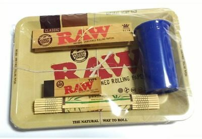 Raw MEDIUM 11X 7 Tray, Papers, Tips, Mat , TUB - Smoking Set Deal a Perfect Gift