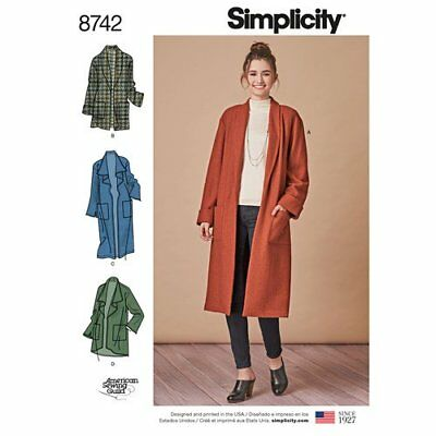 Simplicity Sewing Pattern 8742 Misses 6-24 Easy Loose Cardigan Jacket or Coat