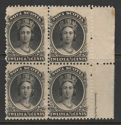 Canada - Nova Scotia 1863 Sg 17 Marginal Block Of 4 Mnh/mm