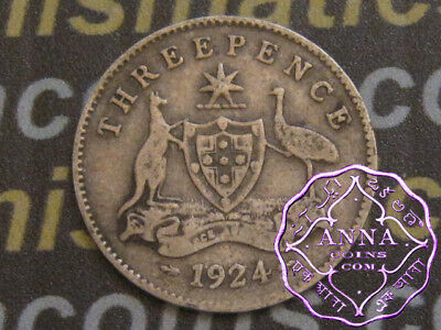 Australia 1924 George V Threepence X1, Average Circulated Condition