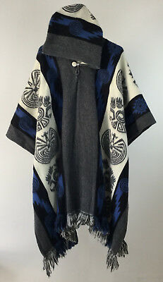 LLAMA PONCHO HOOD Wool Coat Mens Blue Cape Indigenous Native Navajo Hopi  Ecuador