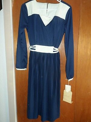 Vintage Toni Todd Dress With Alterations And Original Tags Blue And White