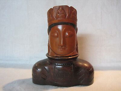 Vintage Chinese carved Buddha head bust tea caddy box