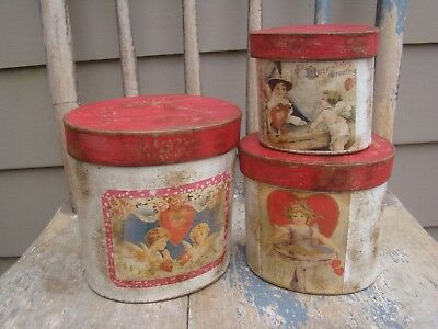 Primitive Valentine's Day Pantry Paper Mache Boxes, red white hearts cupid