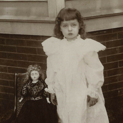 Antique 1890's Cabinet Card Photo,Little Maude & Her Bisque Doll Outdoors,1895