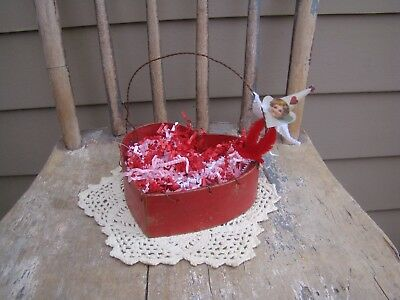 Primitive Valentine's Day Heart Paper Mache Candy Basket, red pink white