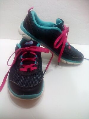 487e0b0b6efc GIRL SHOES YOUTH size 1 athletic lace-up AVIA Cantilever black pink ...